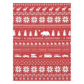 California Christmas Holiday Pattern White on Red Tablecloth