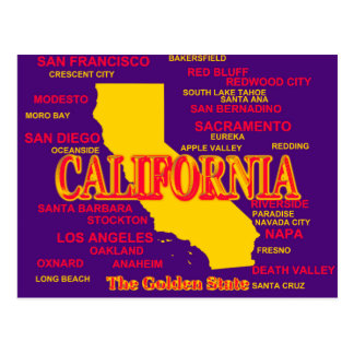 California Cities And Towns State Pride Map Postcard