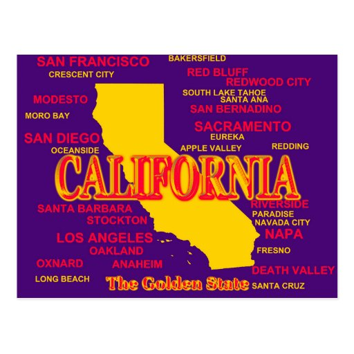 California Cities And Towns State Pride Map Post Card