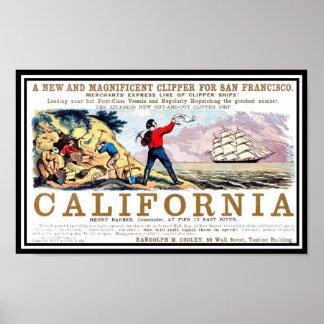 California Clipper gold rush Vintage Print