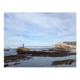 California Coast Pacific Ocean Fishing Postcard
