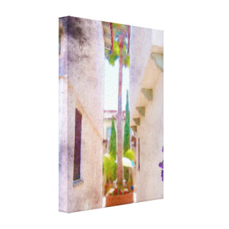 California Courtyard Stretched Canvas Prints