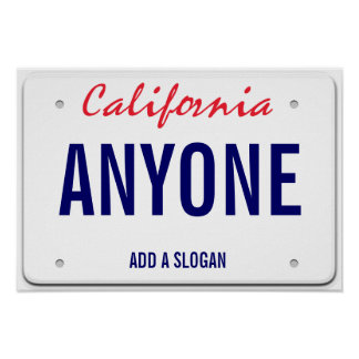 California Custom License Plate Poster