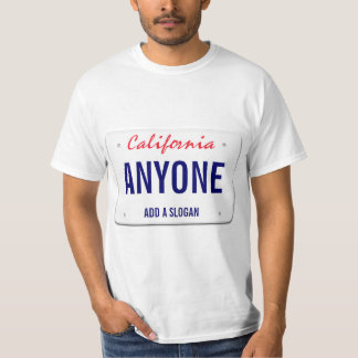 California Custom License Plate T-Shirt