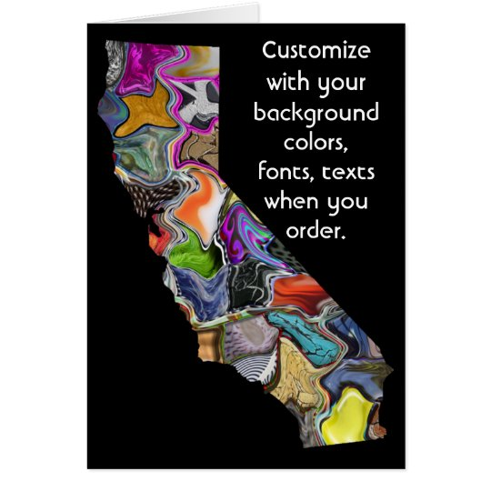 California Customise colourful card how you want