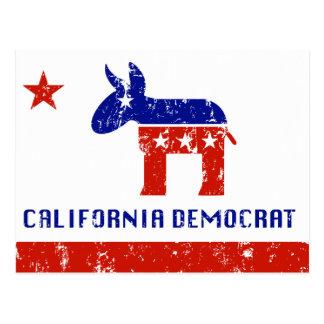 California Democrat Distressed Postcard