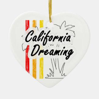California Dreaming Ceramic Heart Decoration