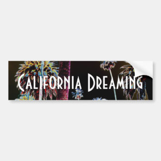California Dreaming Palm Tree Neon Bumper Sticker