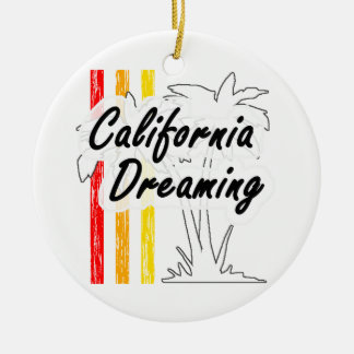 California Dreaming Round Ceramic Decoration