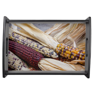 California. Fall Harvest Colorful Indian Corn Serving Tray