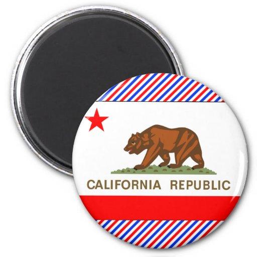 California Flag 6 Cm Round Magnet