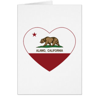 california flag alamo heart greeting cards