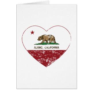 california flag alamo heart distressed greeting card