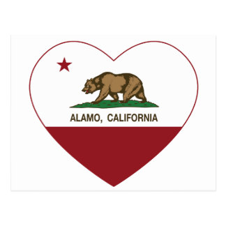california flag alamo heart postcard