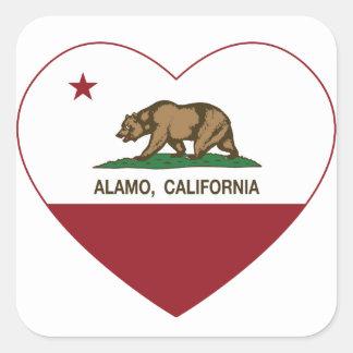 california flag alamo heart square sticker