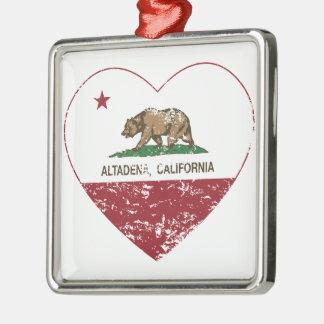california flag altadena heart distressed christmas ornament
