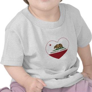 california flag amador city heart tshirts