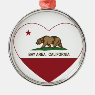 california flag bay area heart christmas ornament