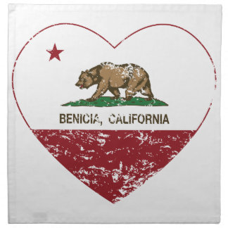 california flag benecia heart distressed napkin