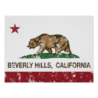 california flag beverly hills distressed poster