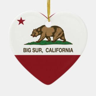 california flag big sur heart ceramic heart decoration