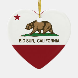 california flag big sur heart christmas ornament