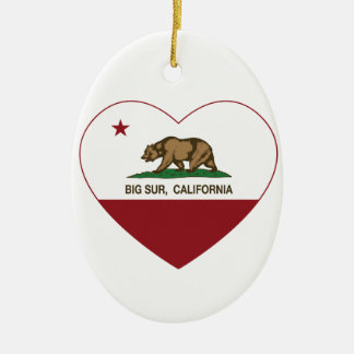 california flag big sur heart christmas ornament
