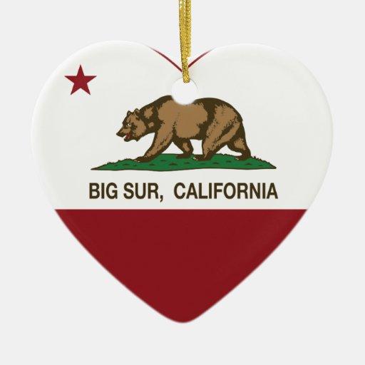 california flag big sur heart christmas tree ornaments