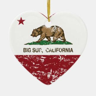 california flag big sur heart distressed christmas ornament