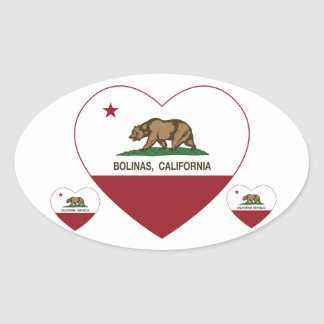 california flag bolinas heart oval sticker