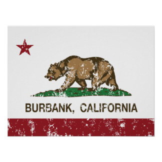 california flag burbank distressed posters