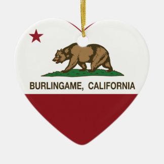 california flag burlingame heart christmas ornament