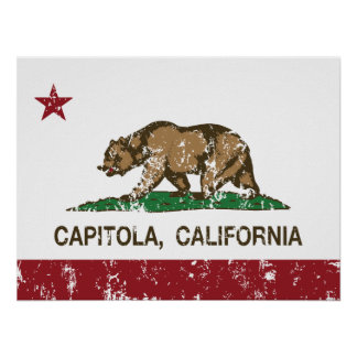 california flag capitola distressed posters