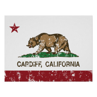 California flag cardiff Flag Poster