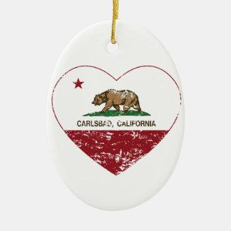 california flag carlsbad heart distressed ceramic oval decoration