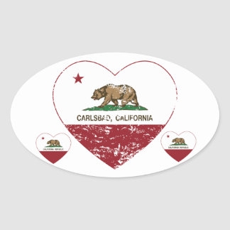california flag carlsbad heart distressed oval stickers