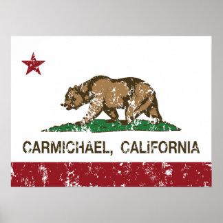 california flag carmichael distressed print