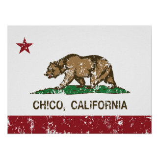 california flag chico distressed posters