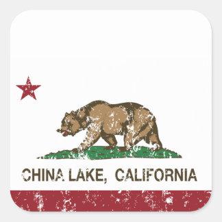 California flag china lake flag square sticker