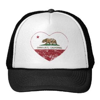 california flag china lake heart distressed mesh hats