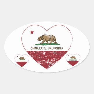 california flag china lake heart distressed oval sticker