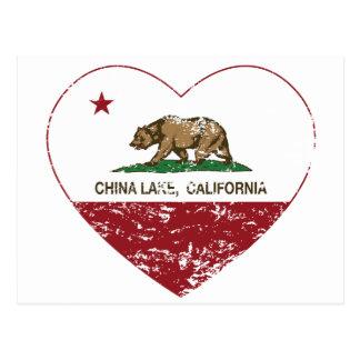 california flag china lake heart distressed postcard