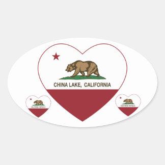 california flag china lake heart oval sticker