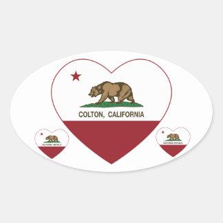 california flag colton heart oval sticker