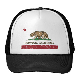 california flag compton distressed trucker hats