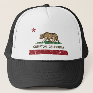 california flag compton distressed trucker hat