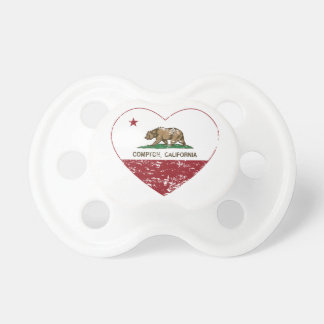california flag compton heart distressed baby pacifiers