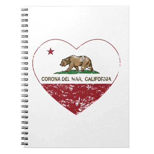 california flag corona del mar heart distressed spiral notebook