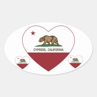 california flag cypress heart oval sticker
