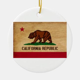 California Flag Round Ceramic Decoration